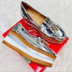 Silver platform loafer
